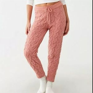 Forever 21 Size Medium Pink Blush Chunky Cable Knit Chenille Lounge Jogger Pants